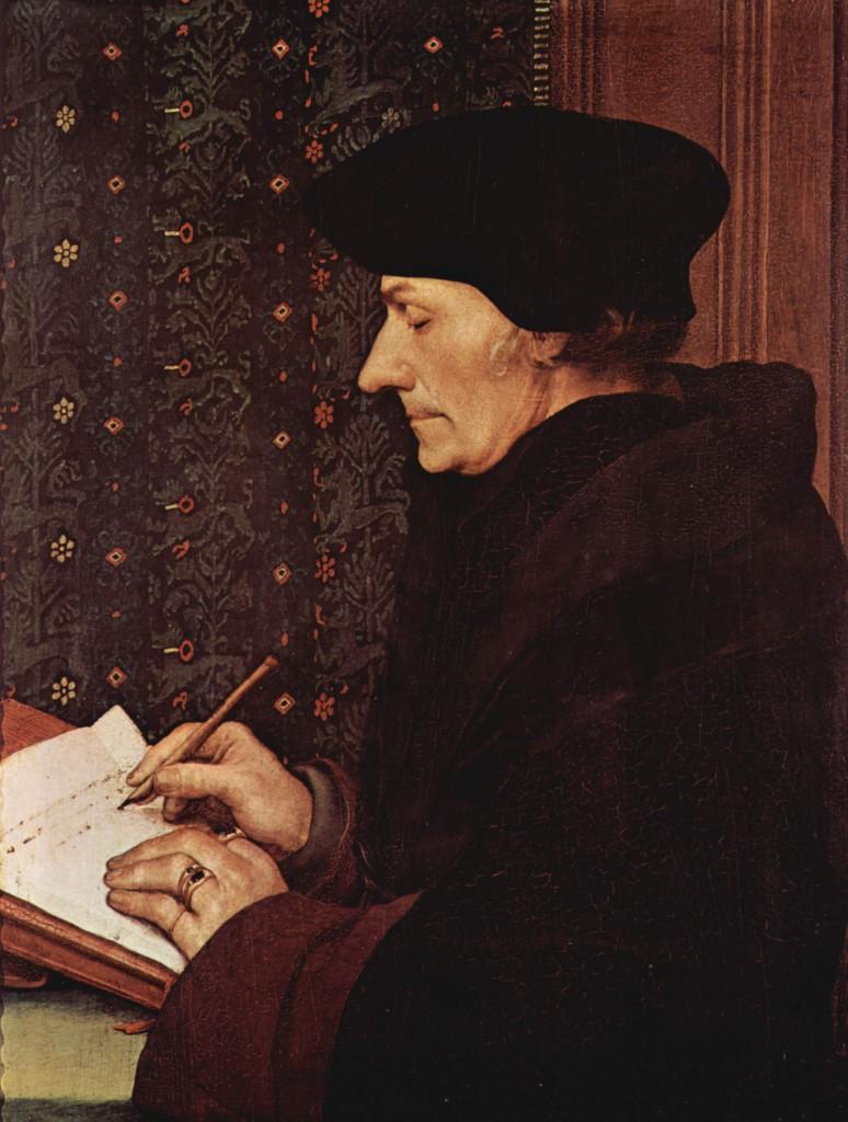 """""""Ik voel me thuis bij Erasmus, bij het humanisme dat universeel is, geen grenzen kent""""; 'Desiderius Erasmus', Hans Holbein de Jongere (1523)."""